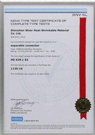 KEMA certificate for 24kV 630A Rear connector per HD629