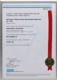 KEMA certificate for 24kV 630A Tee connector per IEC 60502